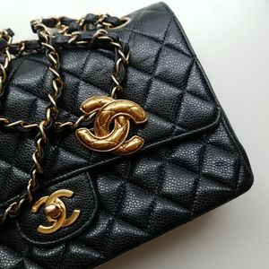 Vintage Chanel gold quilted CC brooch pin